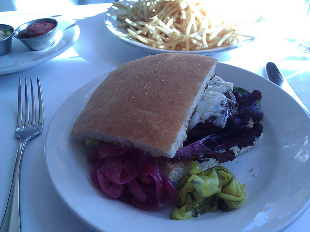 burger and shoestring fries at Zuni Cafe in SF