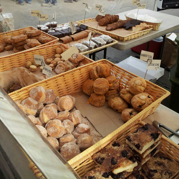 donut muffins and other sweet treats from the Downtown Healdsburg Bakery stand at the Ferry Plaza Farmers' Market in San Francisco.